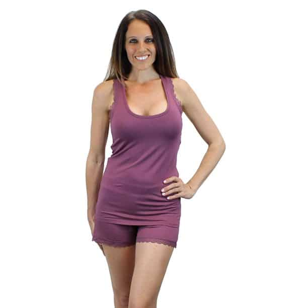 Ms Lovely Tank And Shorts Pajama Set With Lace Trim