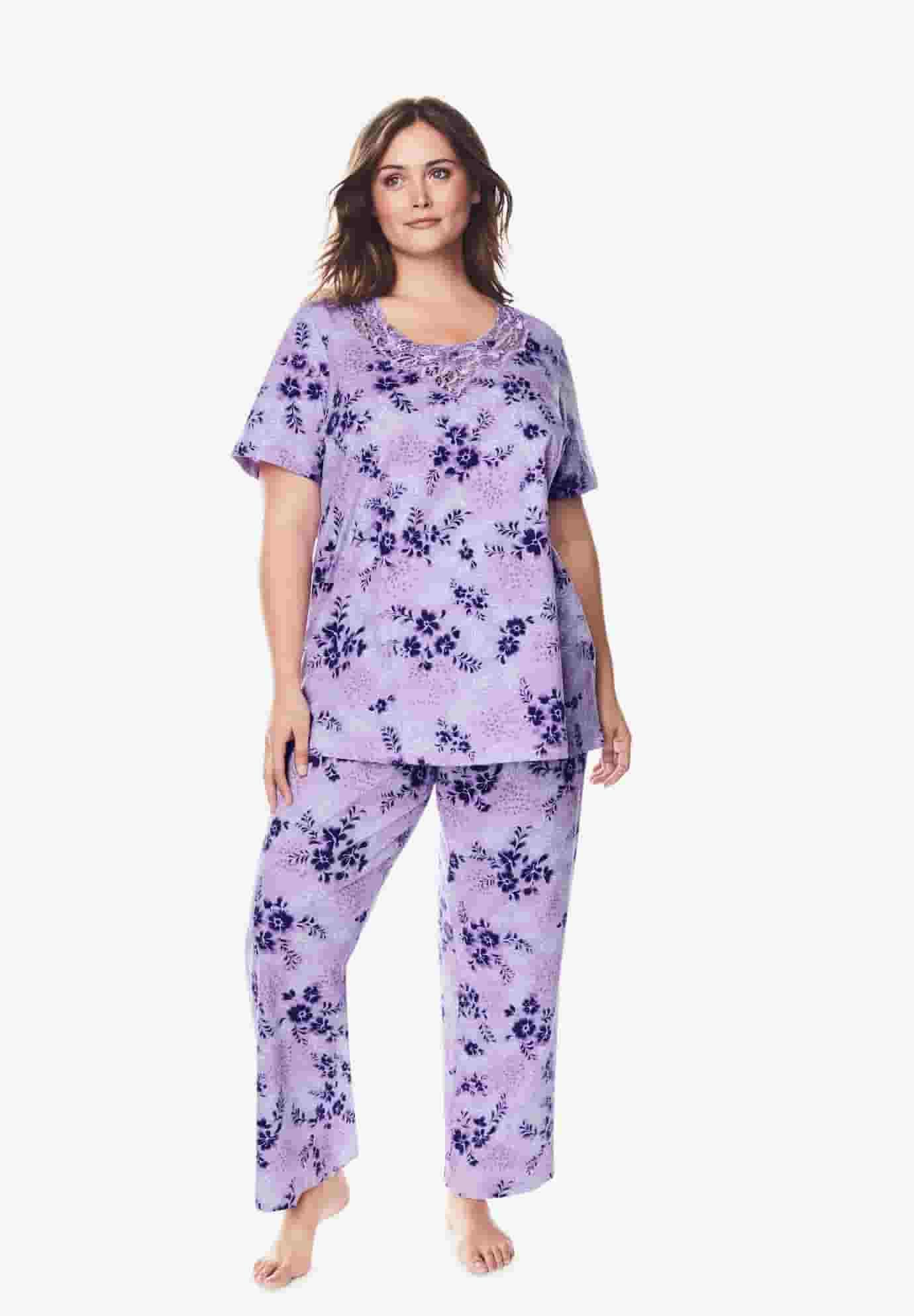 Dreams & Co. Women's Plus Size Lace-Trim Tee Pajama Set