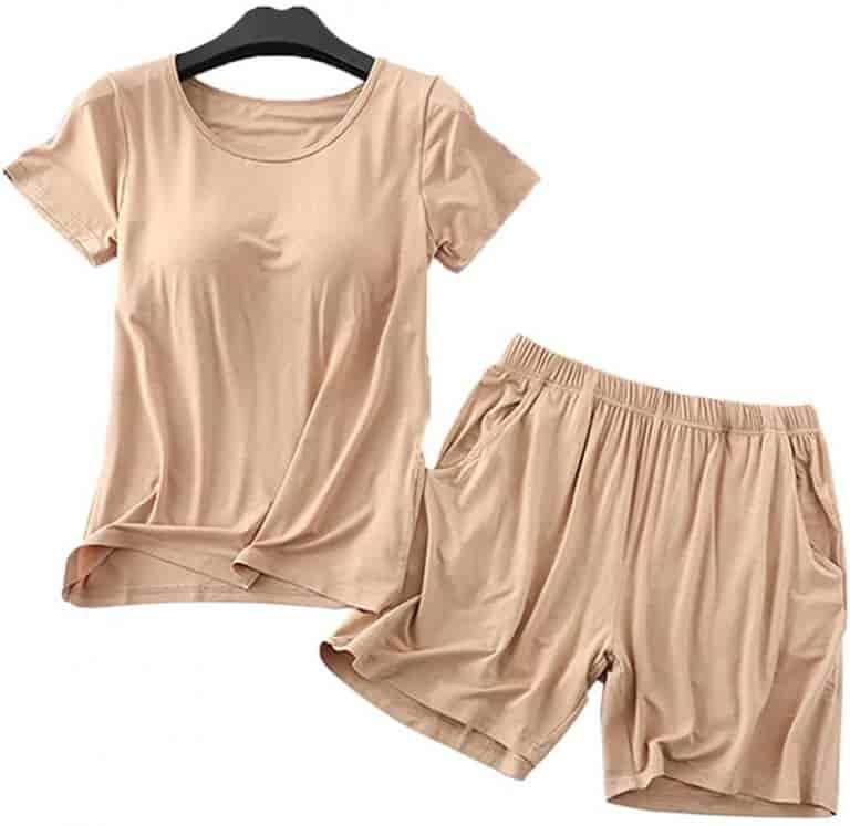 ZMHaierle T-Shirt And Shorts Padded Shelf Bra Pajamas